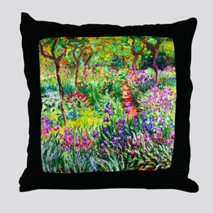 Iris Garden at Giverny Monet Throw Pillow